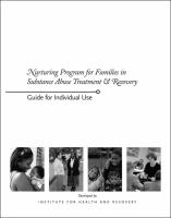 Families in Substance Abuse Treatment & Recovery - Facilitator's Guide for Individual Use (NP11GUIDE)