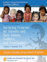 Parents and Their Infants, Toddlers and Preschoolers - 16 Group Sessions - Facilitators Instructional Manual for Teaching Children (NP2CIM16)