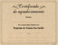 Spanish Certificates Volunteer - pkg/20 (SPCERV)